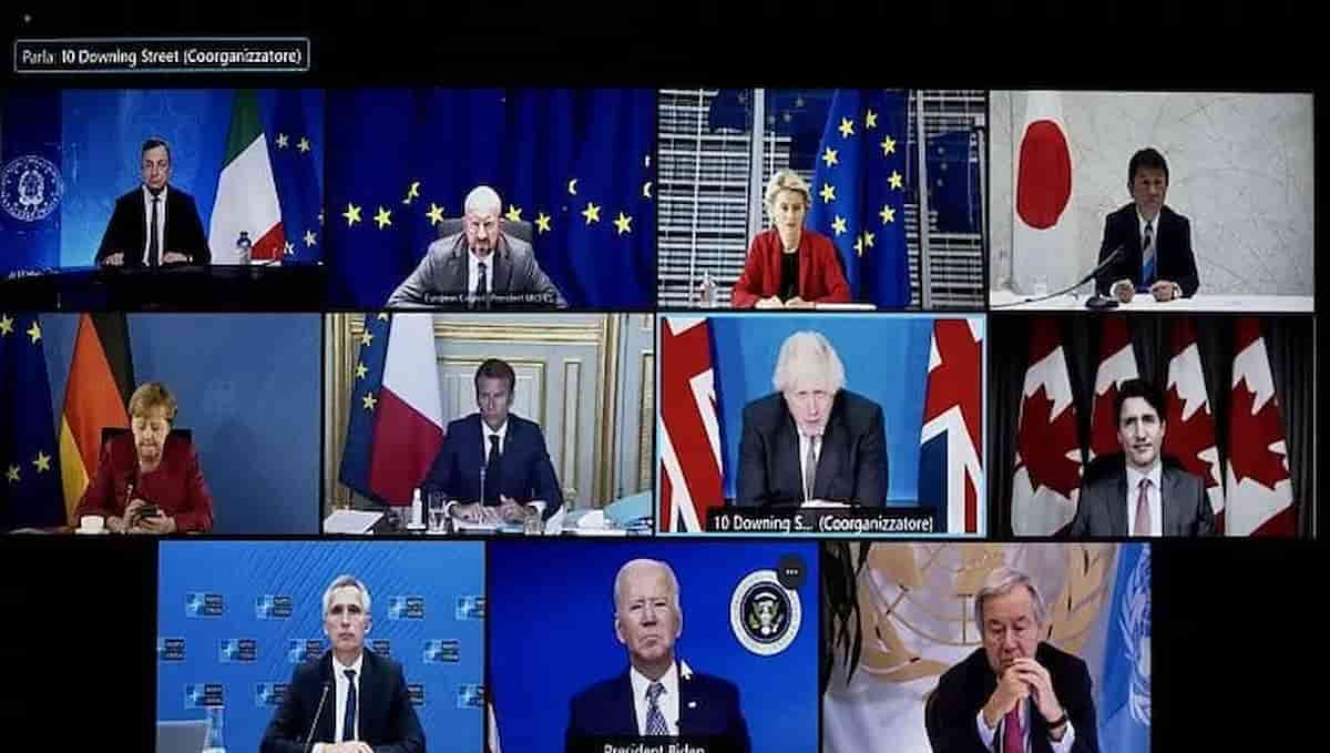 Kabul, il G7 della vergogna. Lultima ora è venuta e tu sei perduta, come Venezia nel 1849, ora parte la repressione, i talebani come gli austriaci, mentre l'Europa nel ridicolo e l'America nella confusione, dopo un inutile G7: guardateli, tutti schierati in video summit